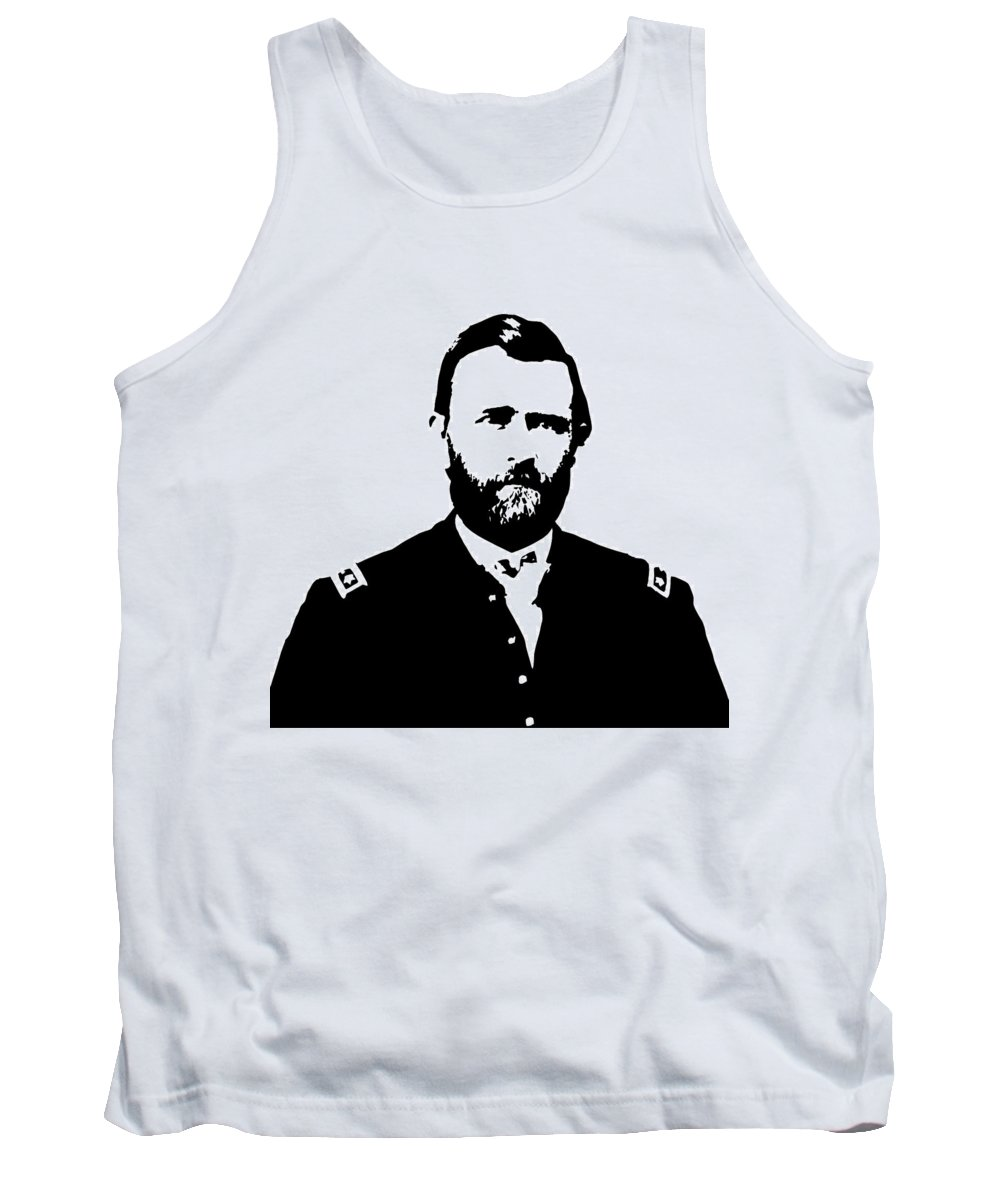 Us Grant Tank Top featuring the digital art General Grant Black And White by War Is Hell Store
