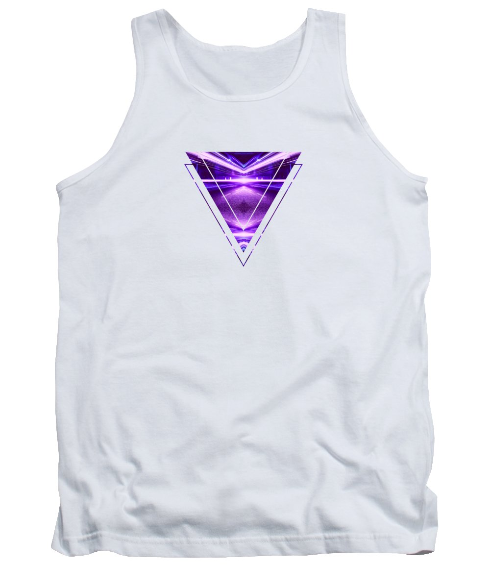 Pink Tank Top featuring the digital art Geometric Street Night Light Pink Purple Neon Edition by Philipp Rietz