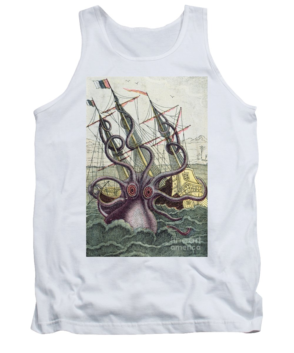 Monster Tank Top featuring the painting Giant Octopus by Denys Montfort