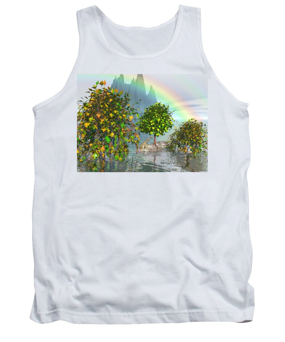 Giraffe Tank Top featuring the painting Giraffe Rainbow Heaven by Susanna Katherine