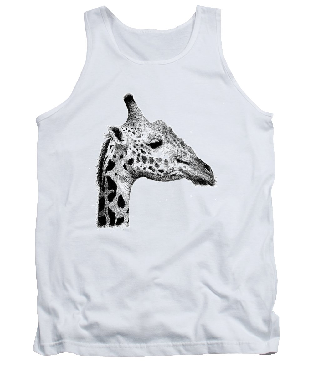 Giraffe Tank Top featuring the drawing Giraffe by Scott Woyak