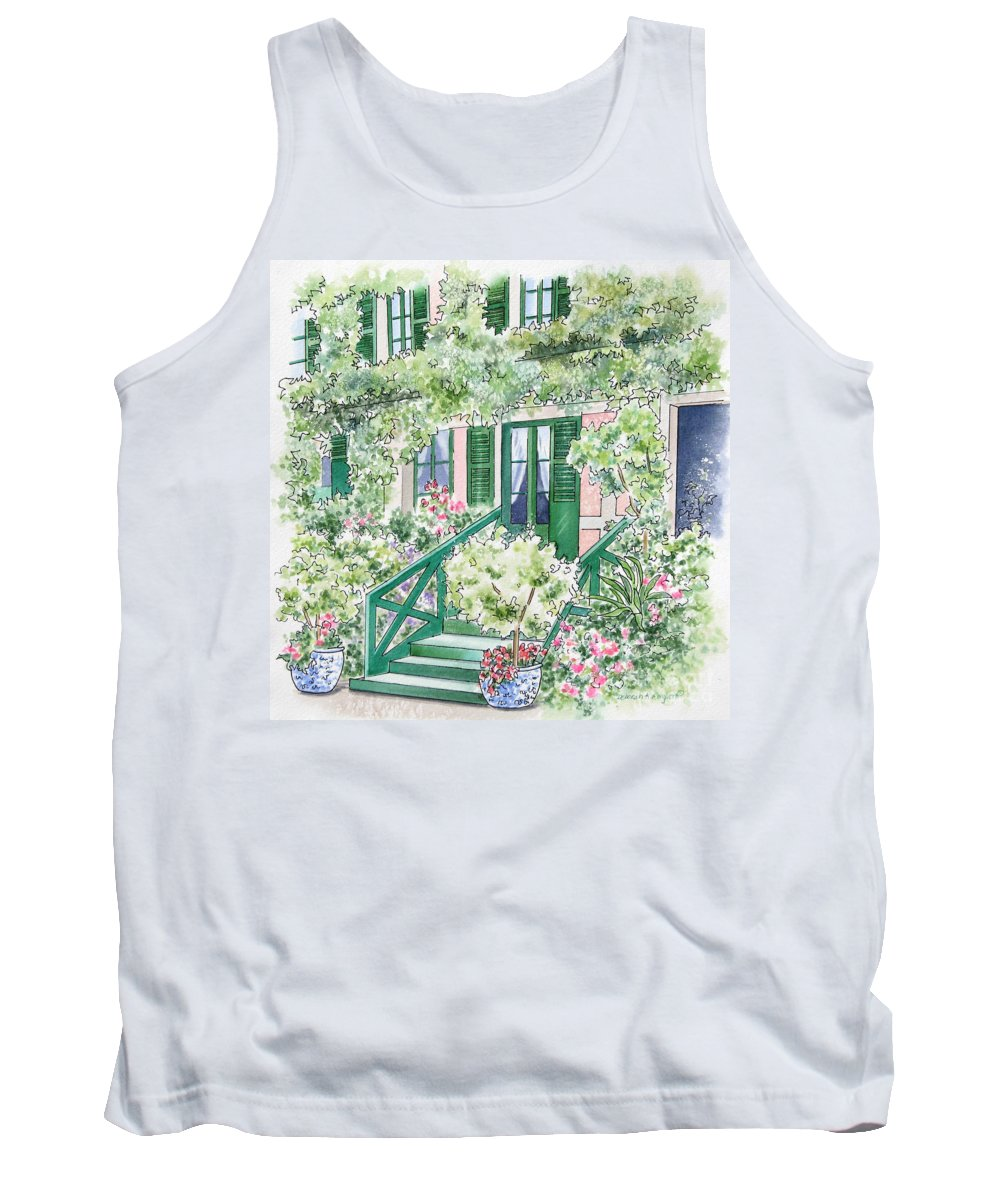 Giverny Tank Top featuring the painting Giverny Welcome by Deborah Ronglien