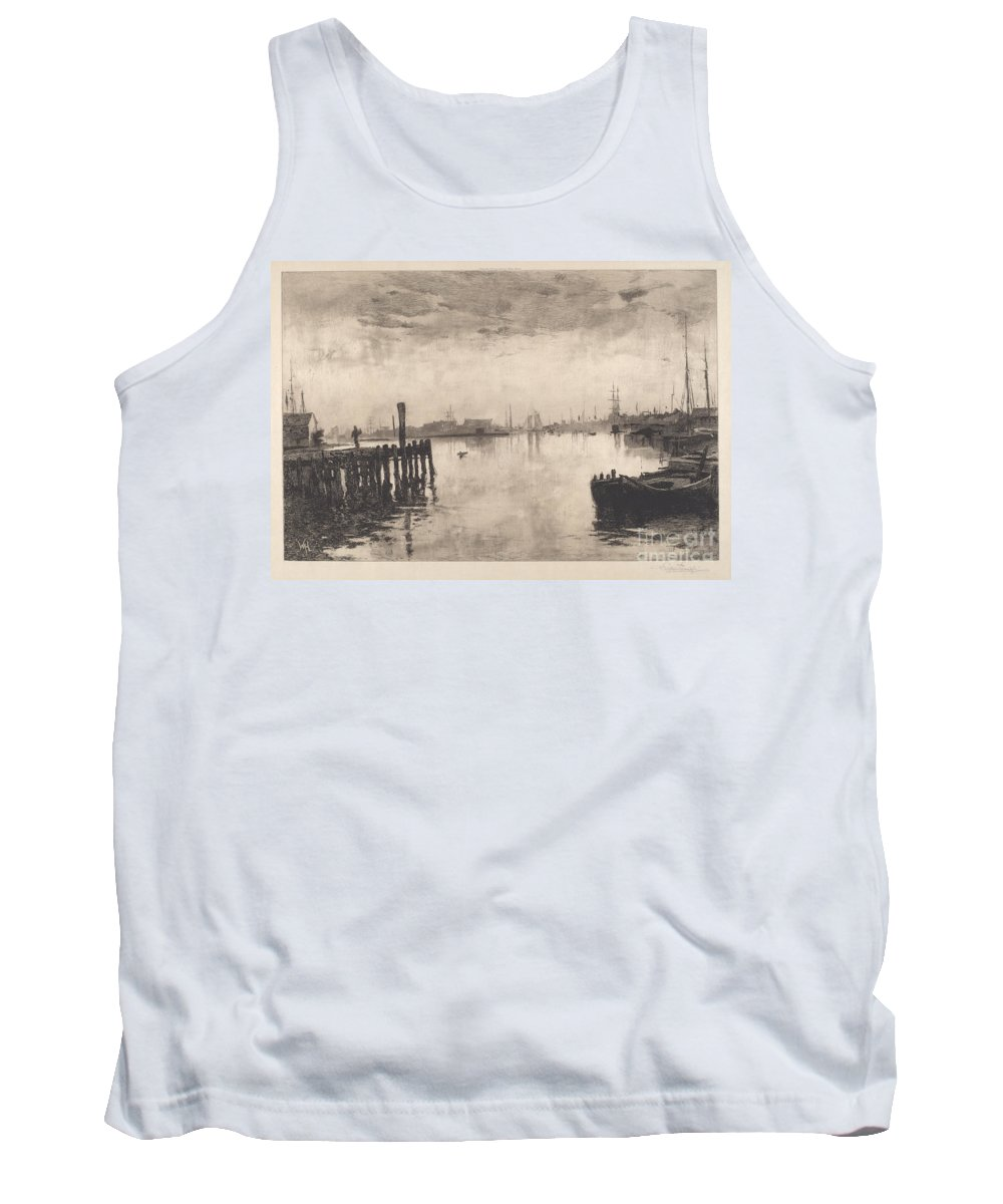 Tank Top featuring the drawing Gloucester Harbor by Stephen Parrish