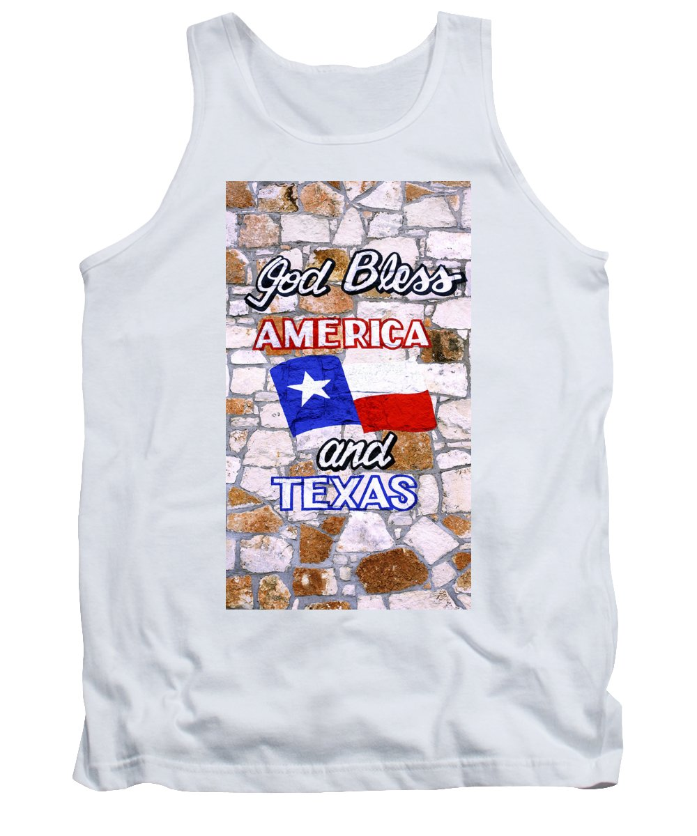 Wall Tank Top featuring the photograph God Bless Amreica And Texas 3 by Marilyn Hunt