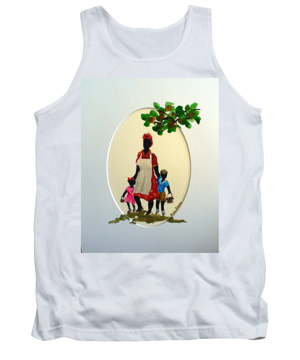 Caribbean Children Tank Top featuring the painting Going To School by Karin Dawn Kelshall- Best