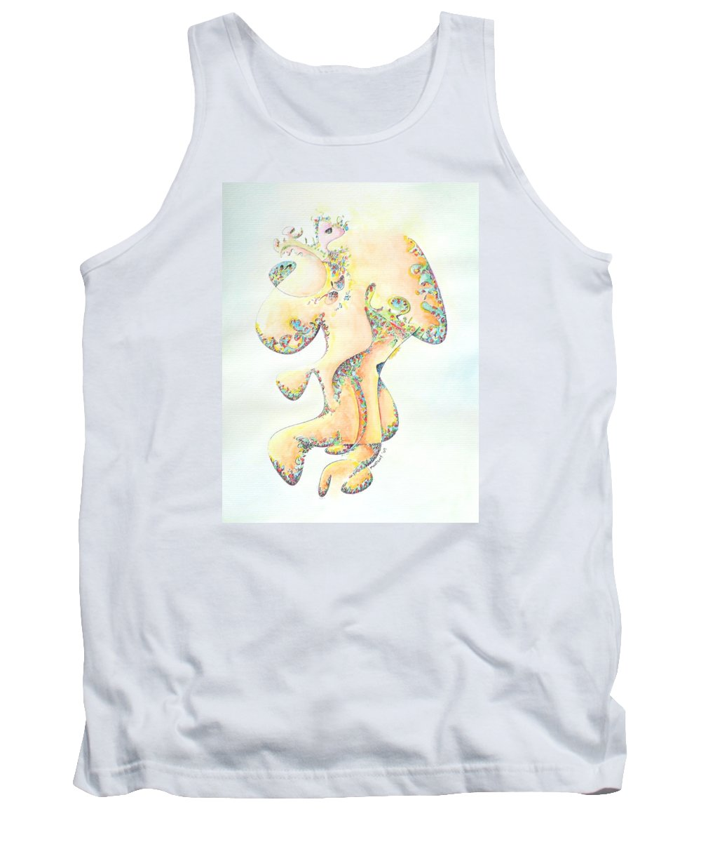 Figure Tank Top featuring the painting Gold Bejeweled Fertility Goddess by Dave Martsolf