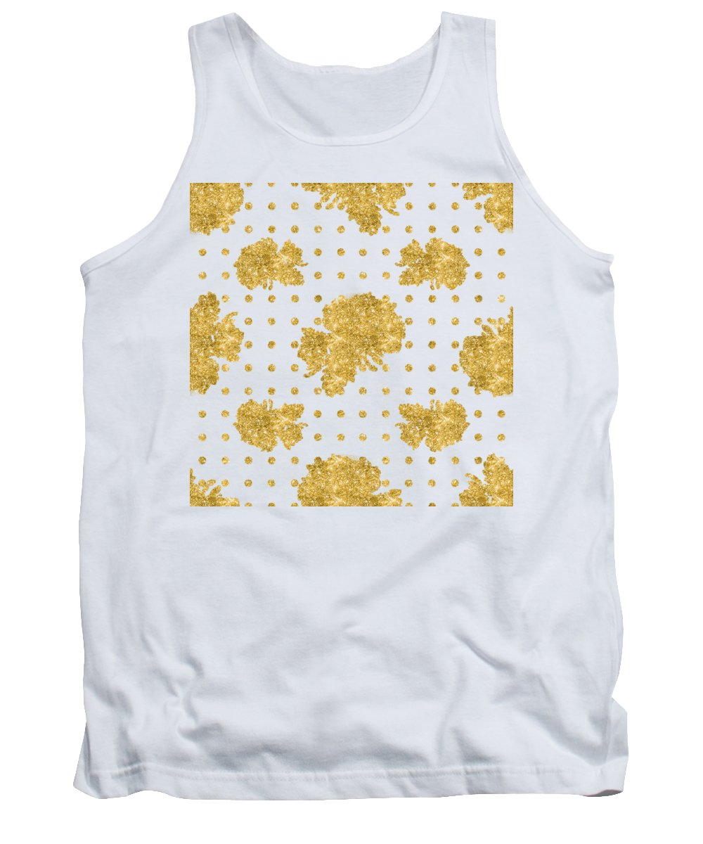 Gold Leaves Paintings Tank Tops