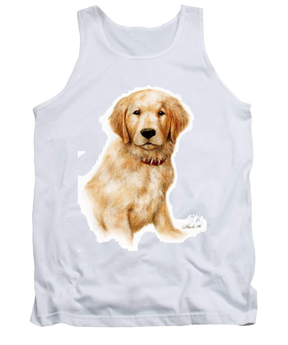 Dog Art Puppy Bruce Lennon Tank Top featuring the painting Golden Pup by Bruce Lennon
