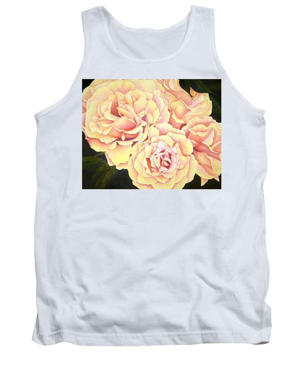 Roses Tank Top featuring the painting Golden Roses by Rowena Finn
