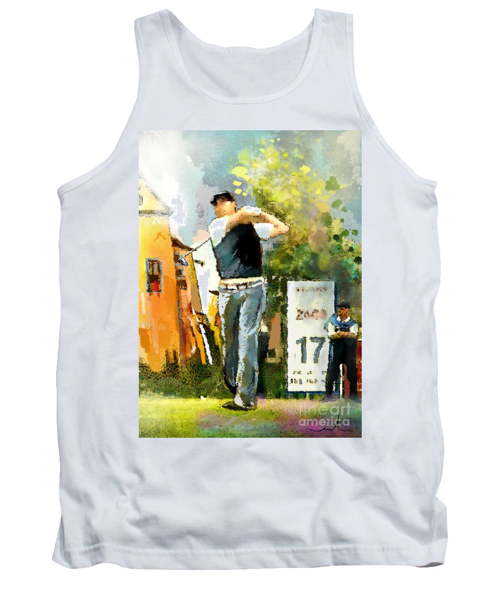 Golf Tank Top featuring the painting Golf In Club Fontana Austria 01 Dyptic Part 01 by Miki De Goodaboom