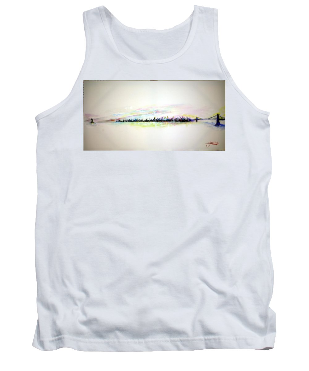 New York Tank Top featuring the painting Good Morning America by Jack Diamond