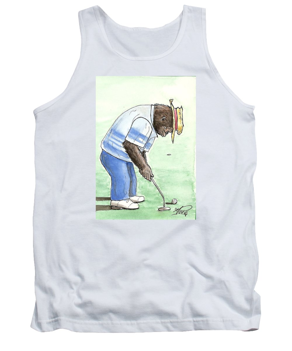 Golf Tank Top featuring the painting Got You Now by George I Perez