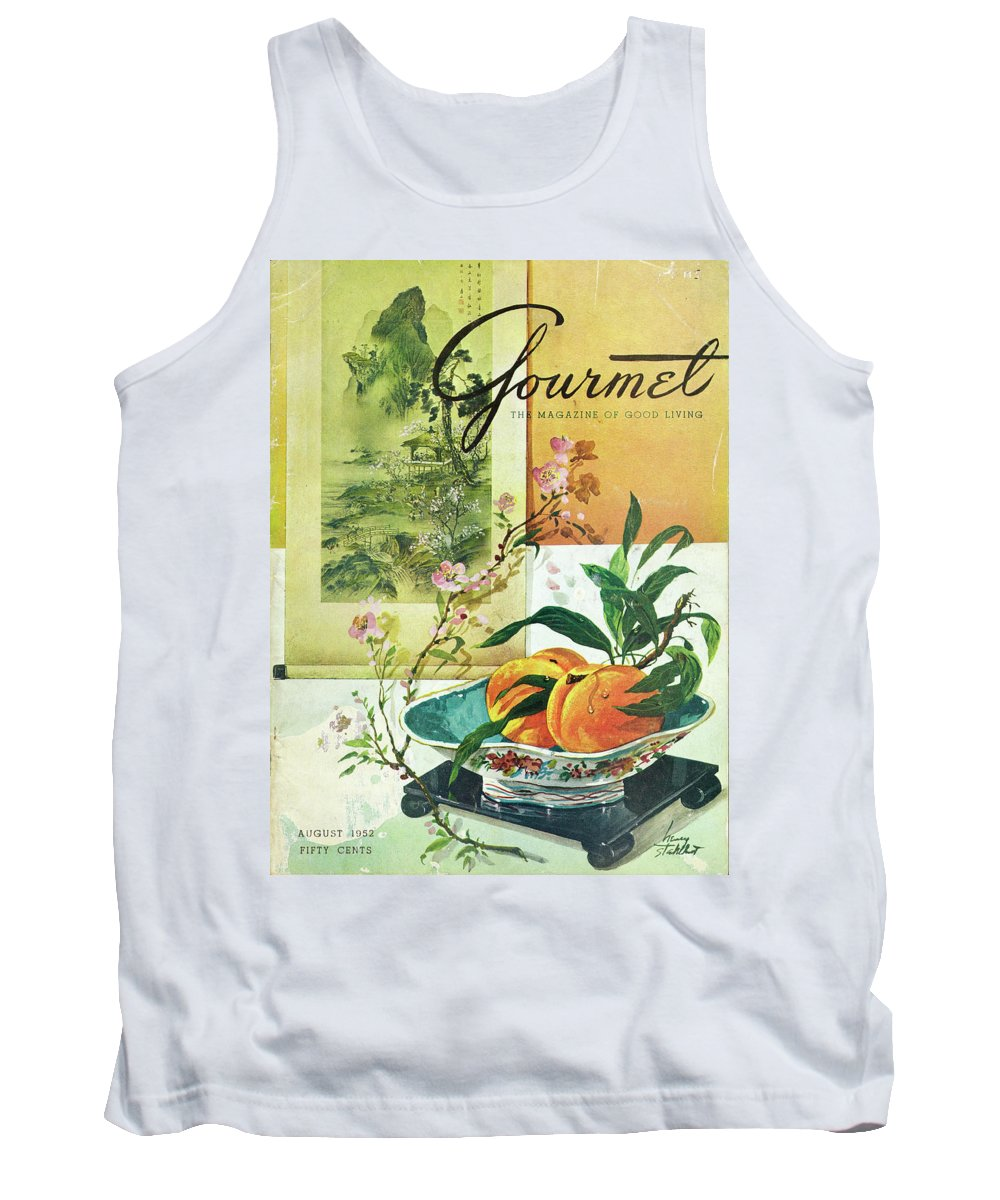 Food Tank Top featuring the photograph Gourmet Cover Featuring A Bowl Of Peaches by Henry Stahlhut