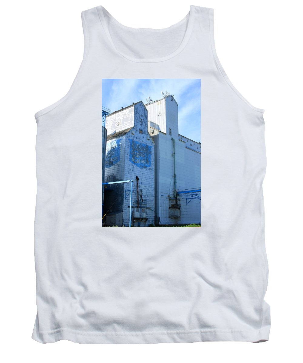 Elevator Tank Top featuring the photograph Grain Bins In A Prairie Town by Robert Hamm