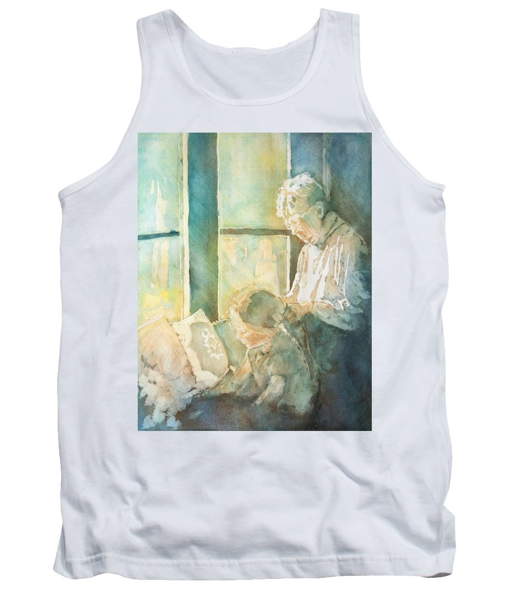 Family Tank Top featuring the painting Gramdma Braids by Jenny Armitage