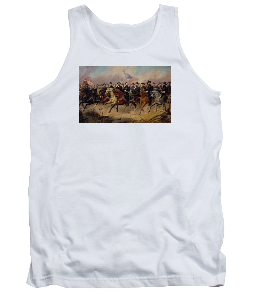 Grant Tank Top featuring the painting Grant And His Generals by War Is Hell Store