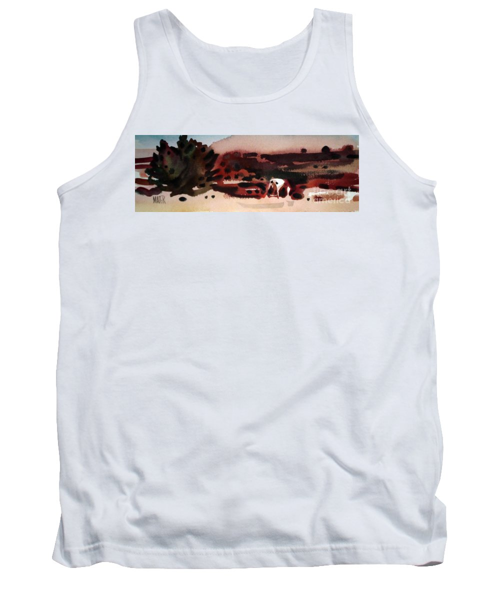 Horse Tank Top featuring the painting Grazing Pinto by Donald Maier