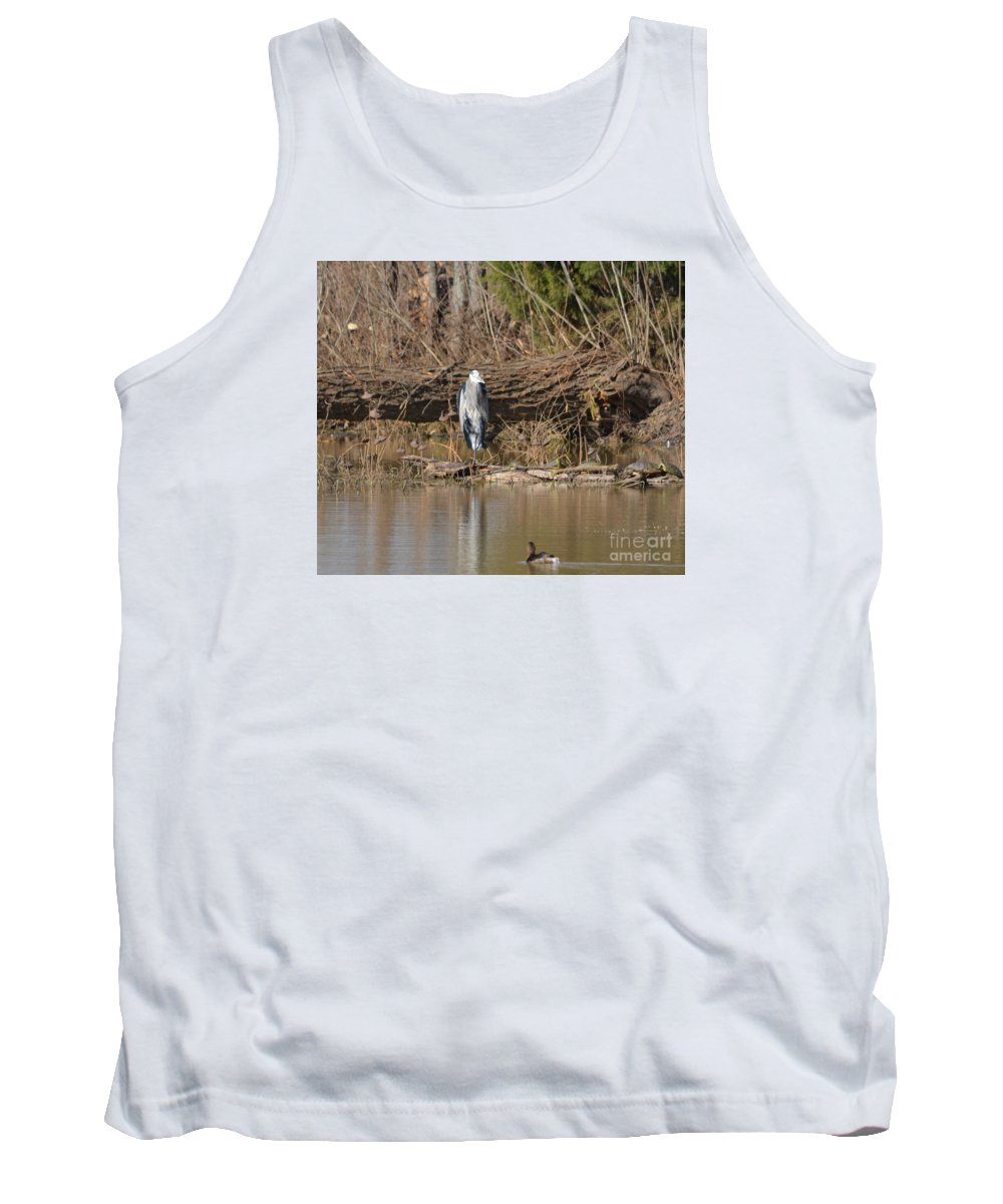 Great Heron And Turtles And Grebe Duck Prints Tank Top featuring the photograph Great Heron Turtles And Grebe Duck by Ruth Housley