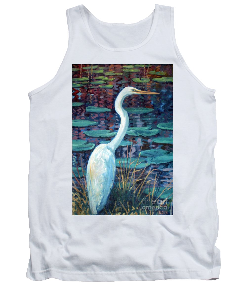 Egret Tank Top featuring the painting Great White Egret by Donald Maier