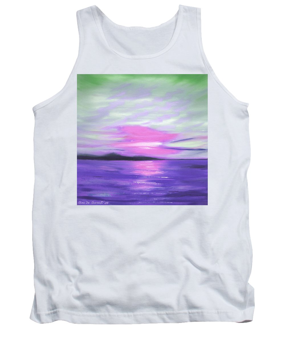 Green Tank Top featuring the painting Green Skies and Purple Seas Sunset by Gina De Gorna