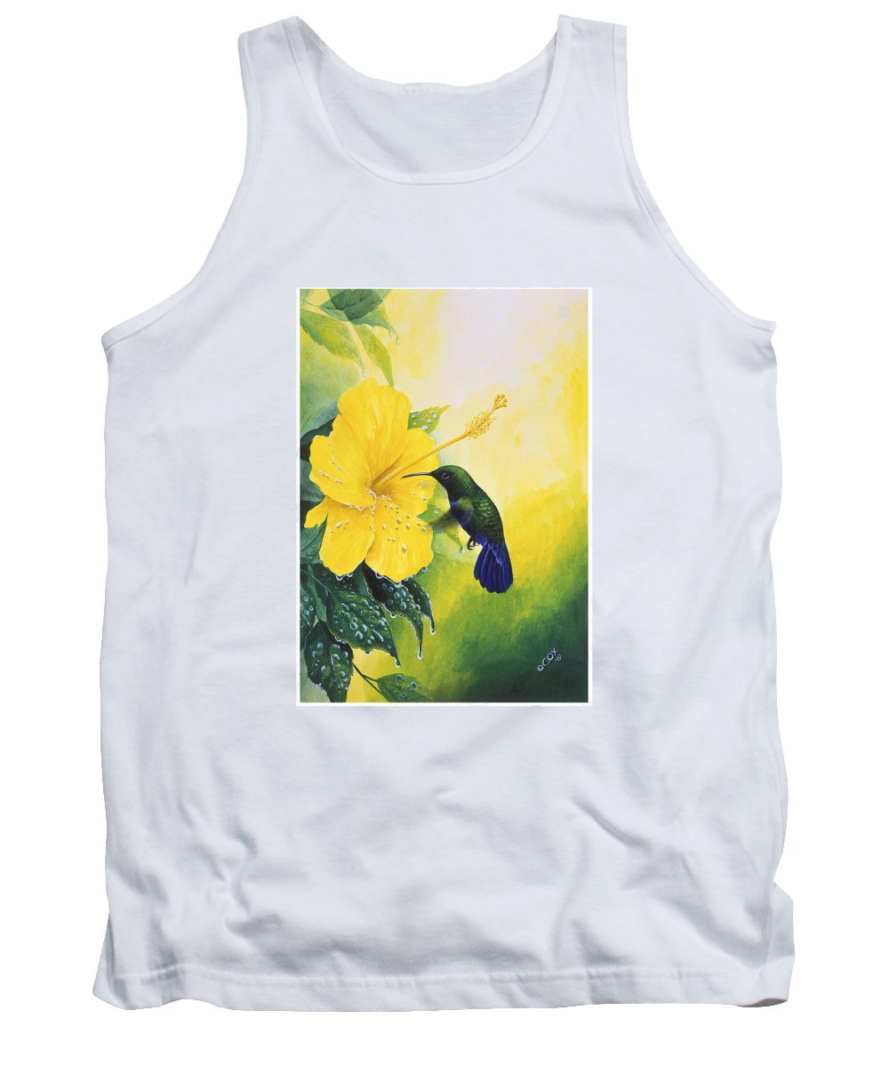 Chris Cox Tank Top featuring the painting Green-throated Carib Hummingbird And Yellow Hibiscus by Christopher Cox