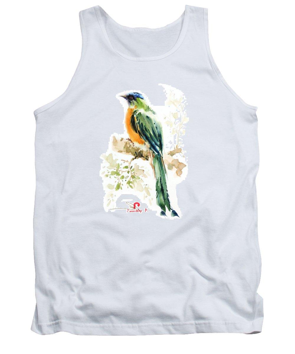 Bird Lover Tank Top featuring the painting Green Wild Bird by Pornthep Piriyasoranant