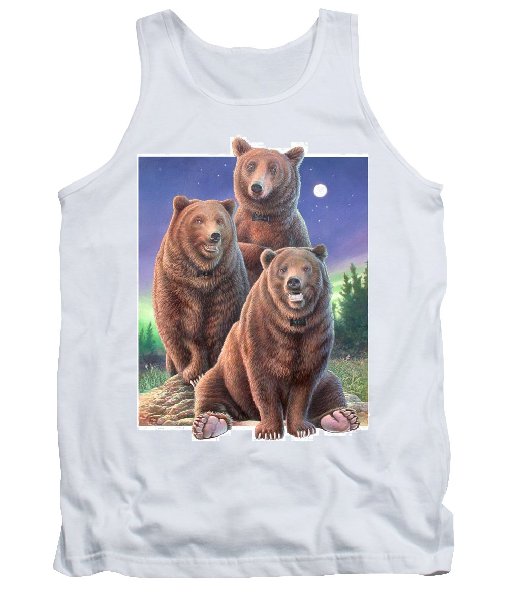 Grizzly Tank Top featuring the painting Grizzly Bears In Starry Night by Hans Droog