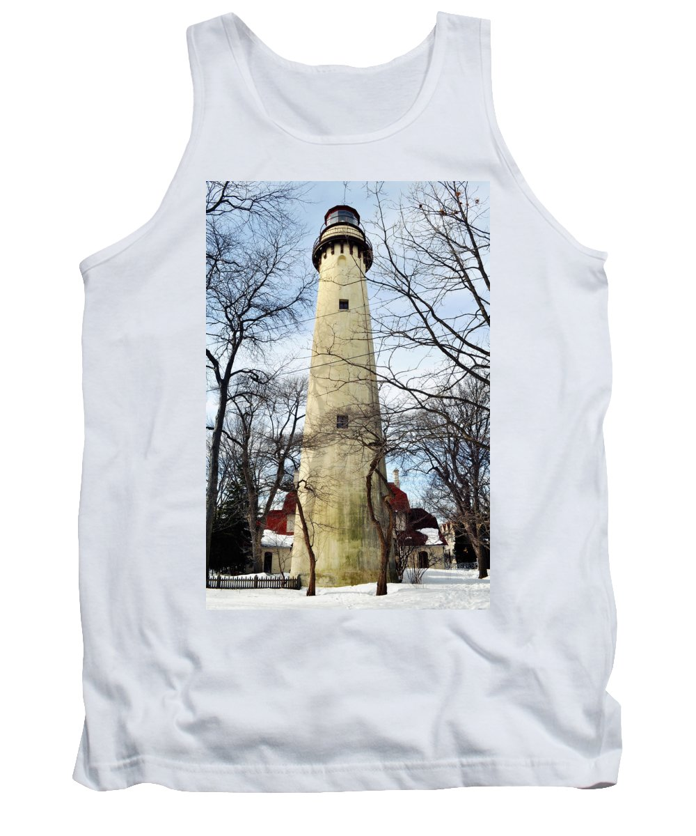 Grosse Point Lighthouse Tank Top featuring the photograph Grosse Point Lighthouse Winter by Kyle Hanson
