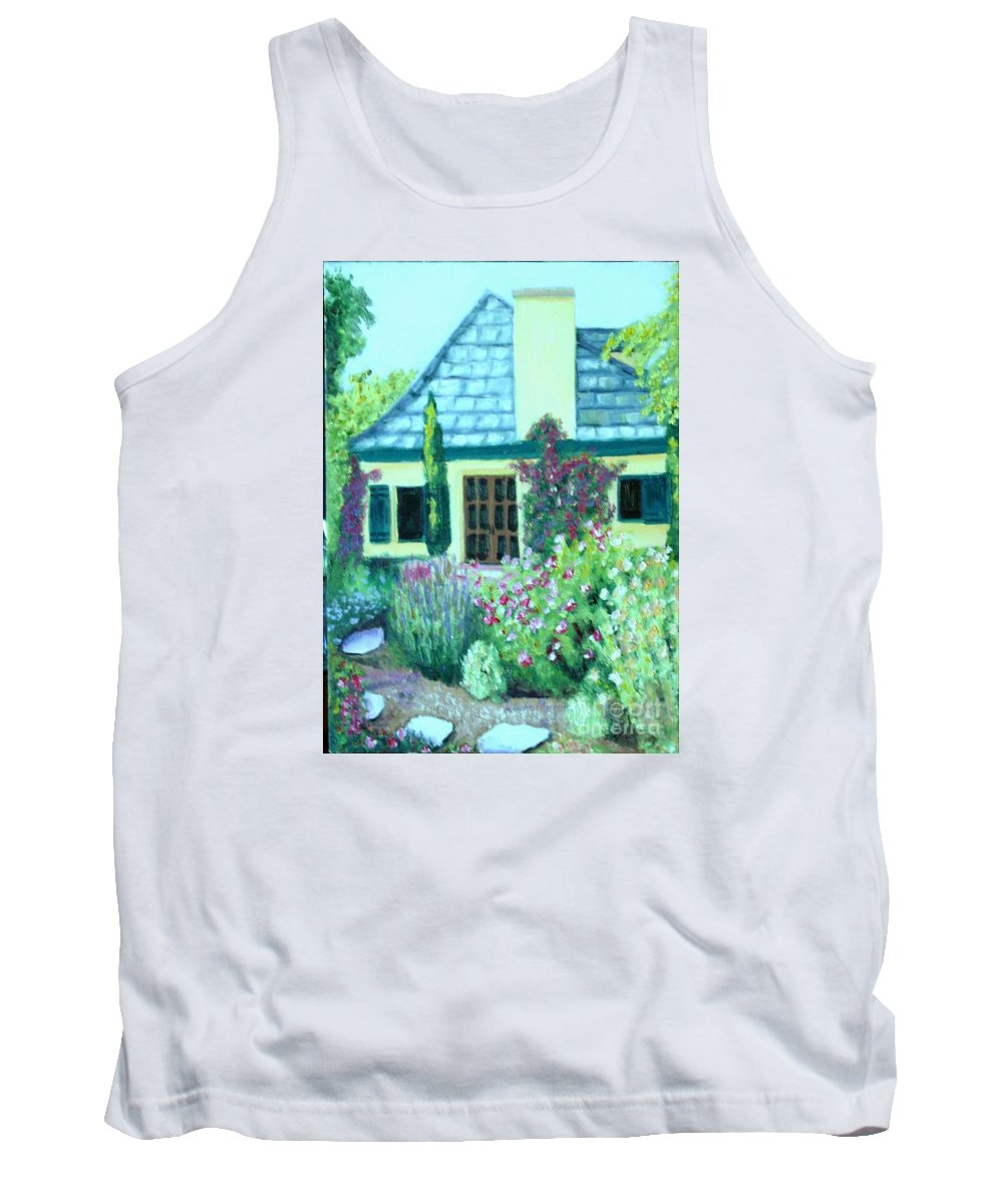 Cottage Tank Top featuring the painting Guest Cottage by Laurie Morgan