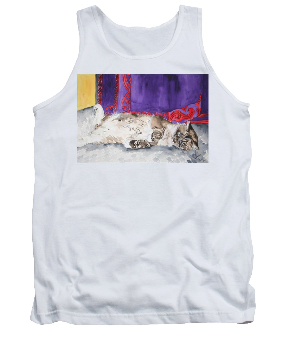 Cat Tank Top featuring the painting Guilley by Jean Blackmer