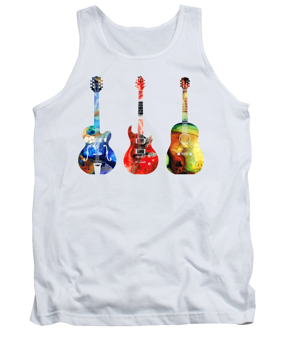 Guitar Tank Top featuring the painting Guitar Threesome - Colorful Guitars By Sharon Cummings by Sharon Cummings