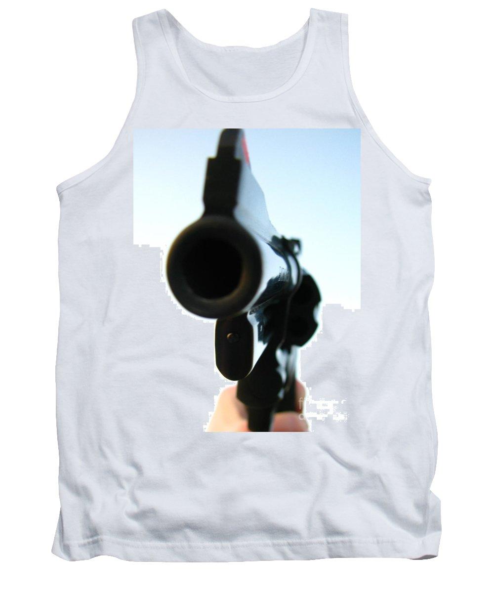 Guns Tank Top featuring the photograph Gun by Amanda Barcon