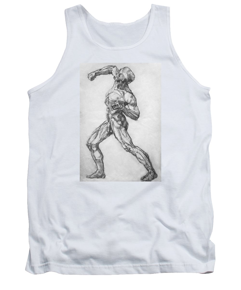 Nude Tank Top featuring the drawing Gypsum Drawing Model by Iliyan Bozhanov