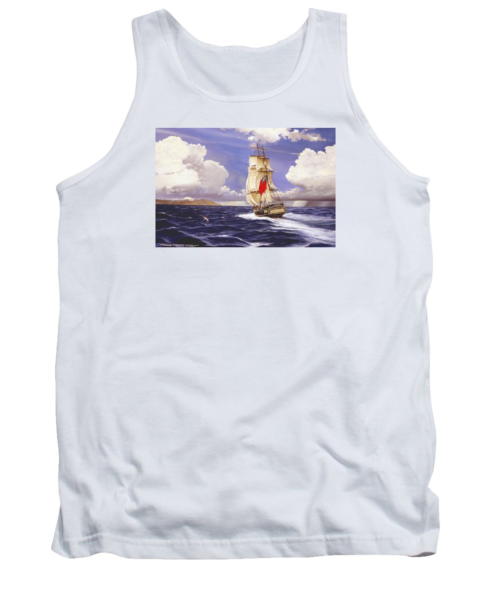 Marine Tank Top featuring the painting H. M. S. Bounty At Tahiti by Marc Stewart
