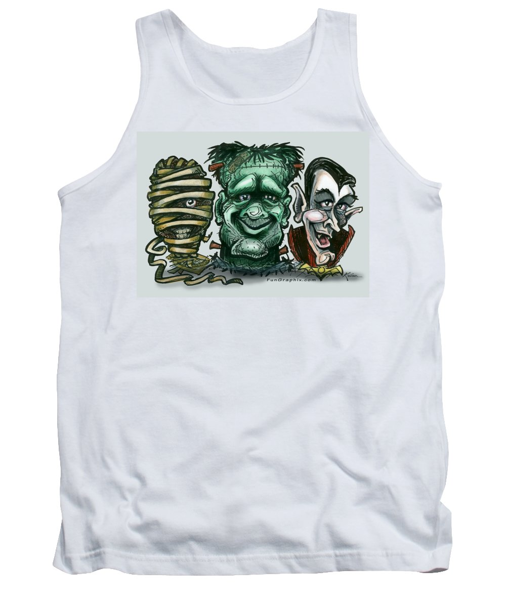 Halloween Tank Top featuring the greeting card Halloween Monsters by Kevin Middleton