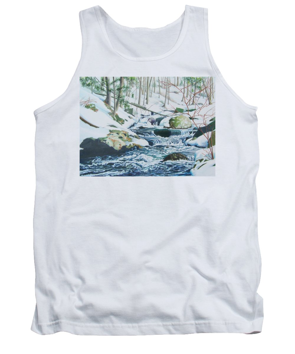 Snow Tank Top featuring the mixed media Hamburg Mountain Stream by Constance Drescher