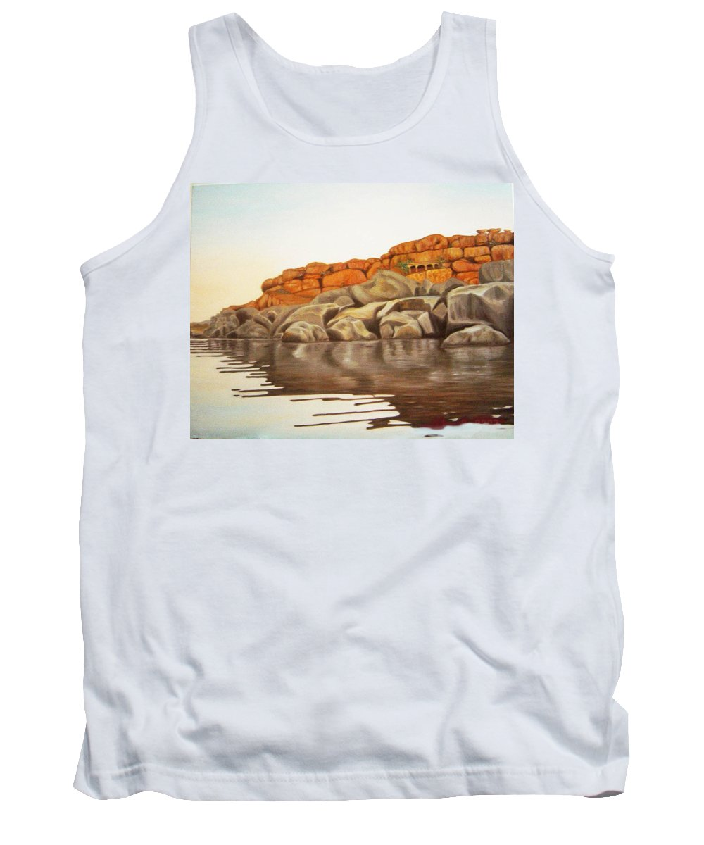 Hampi Tank Top featuring the painting Hampi On Tungabadra by Usha Shantharam