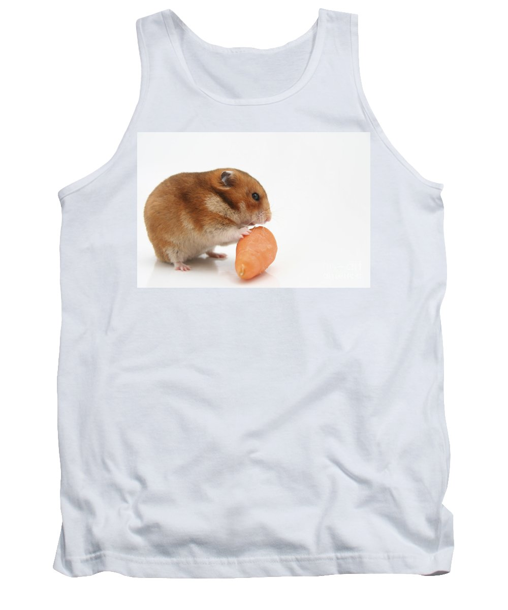 Hamster Tank Top featuring the photograph Hamster Eating A Carrot by Yedidya yos mizrachi