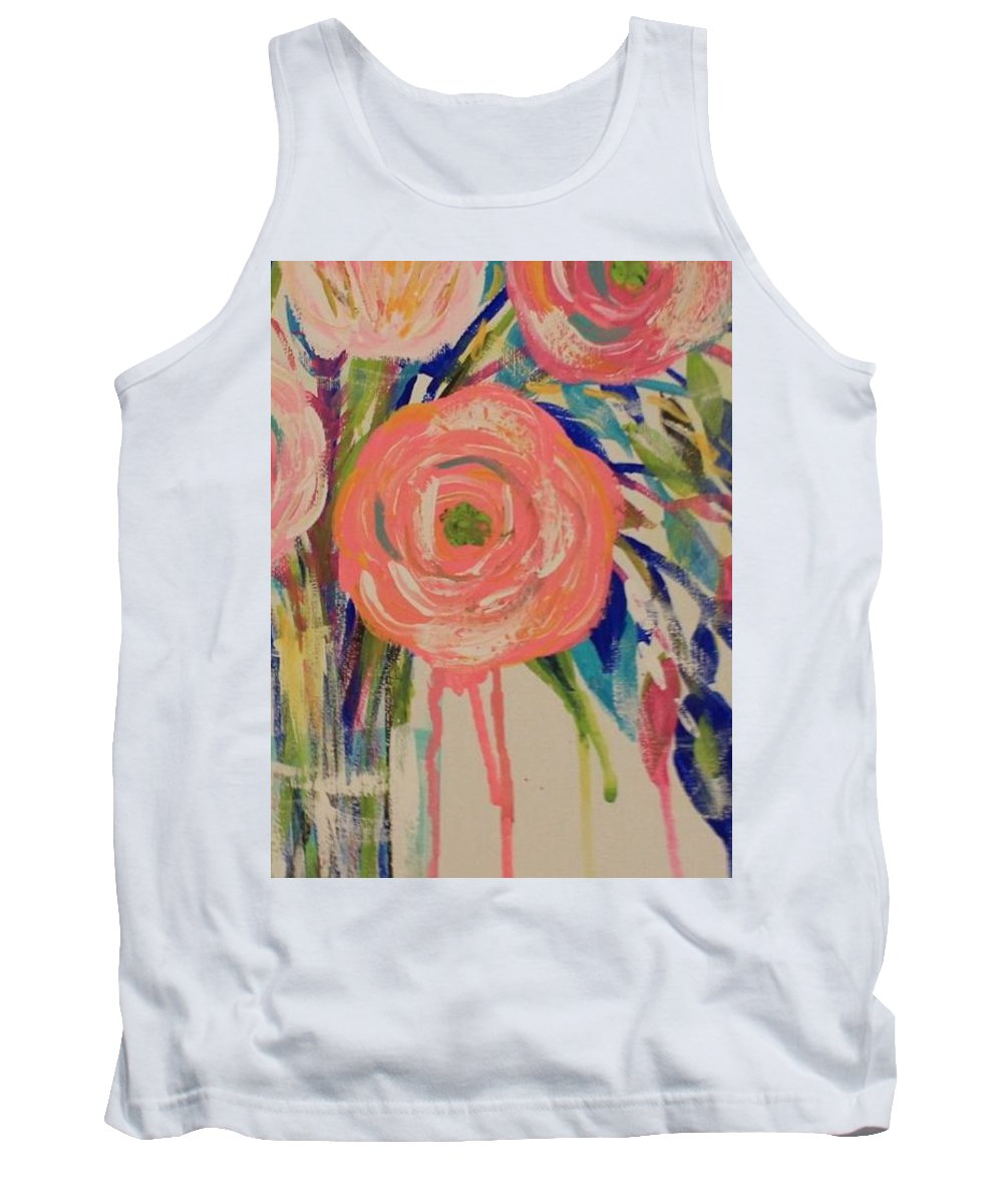 Floral Tank Top featuring the painting Happy Day by Melisa Farthing