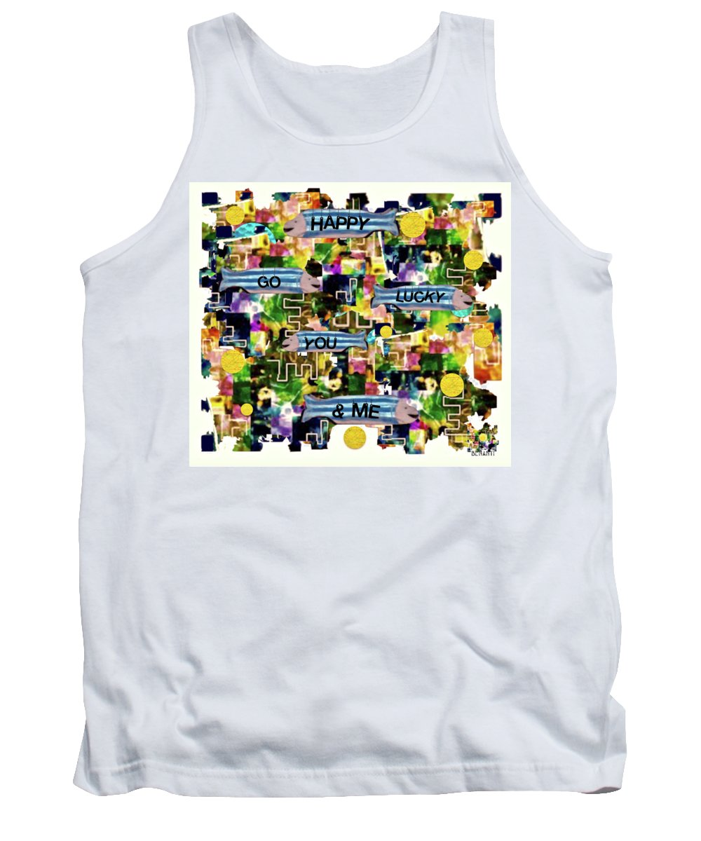 Happy Go Lucky Art Tank Top featuring the mixed media Happy Go Lucky You by Dianne Lynn Benanti