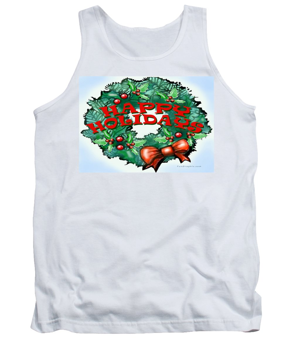 Happy Holidays Tank Top featuring the greeting card Happy Holidays by Kevin Middleton