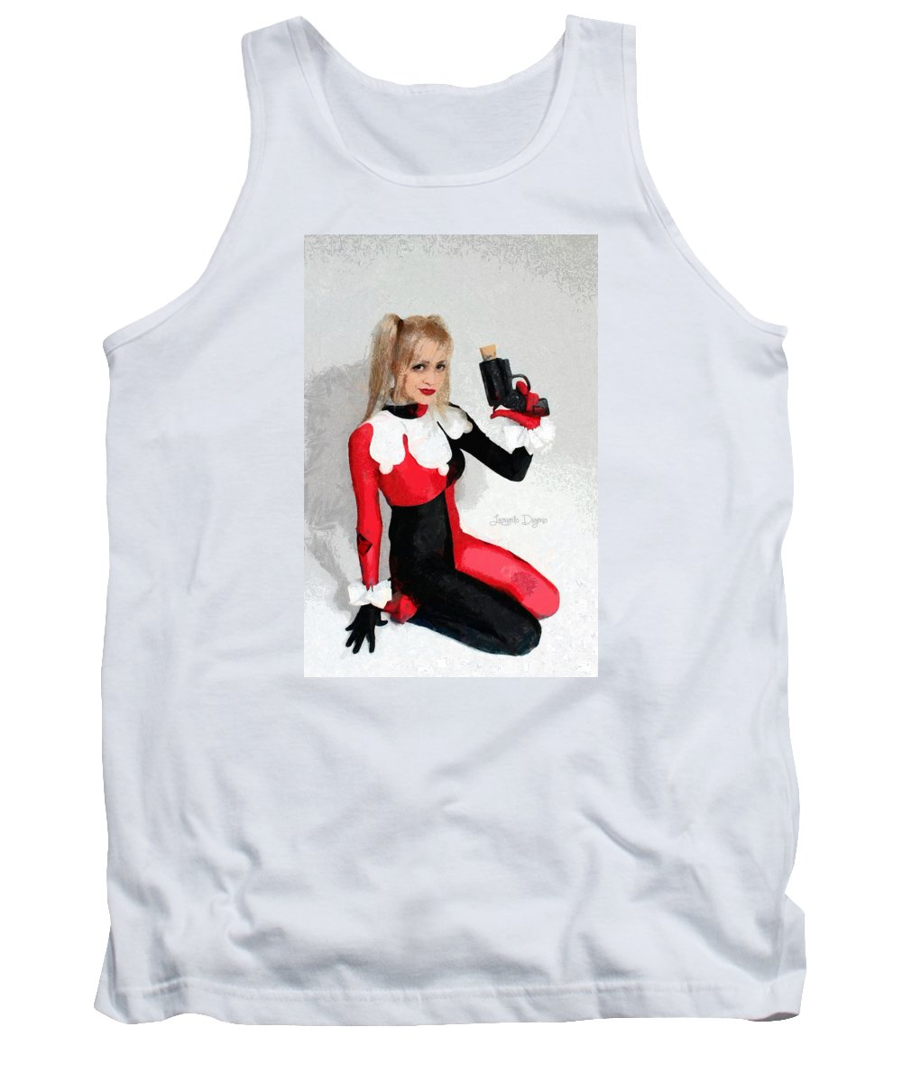 Adventure Tank Top featuring the painting Harley Quinn And Pistol by Leonardo Digenio