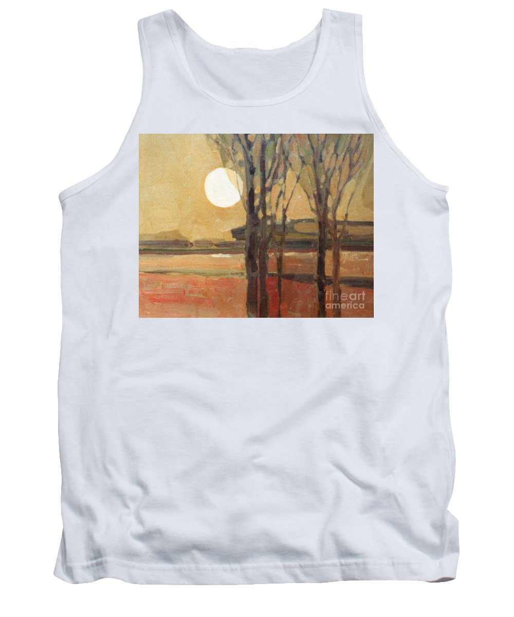 Sunset Tank Top featuring the painting Harvest Moon by Donald Maier