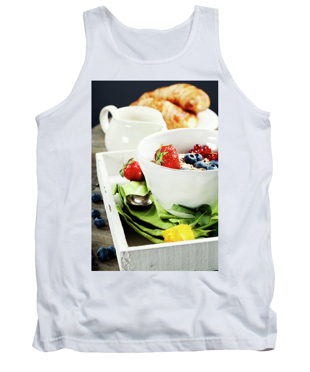 Berry Tank Top featuring the photograph Healthy Breakfast by Natalia Klenova