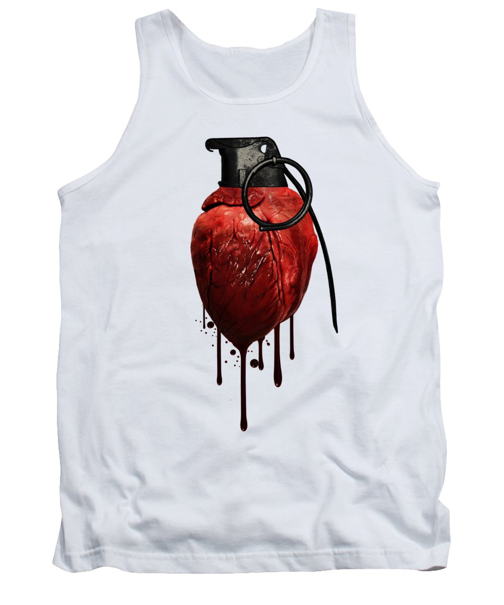 Heart Tank Top featuring the mixed media Heart Grenade by Nicklas Gustafsson
