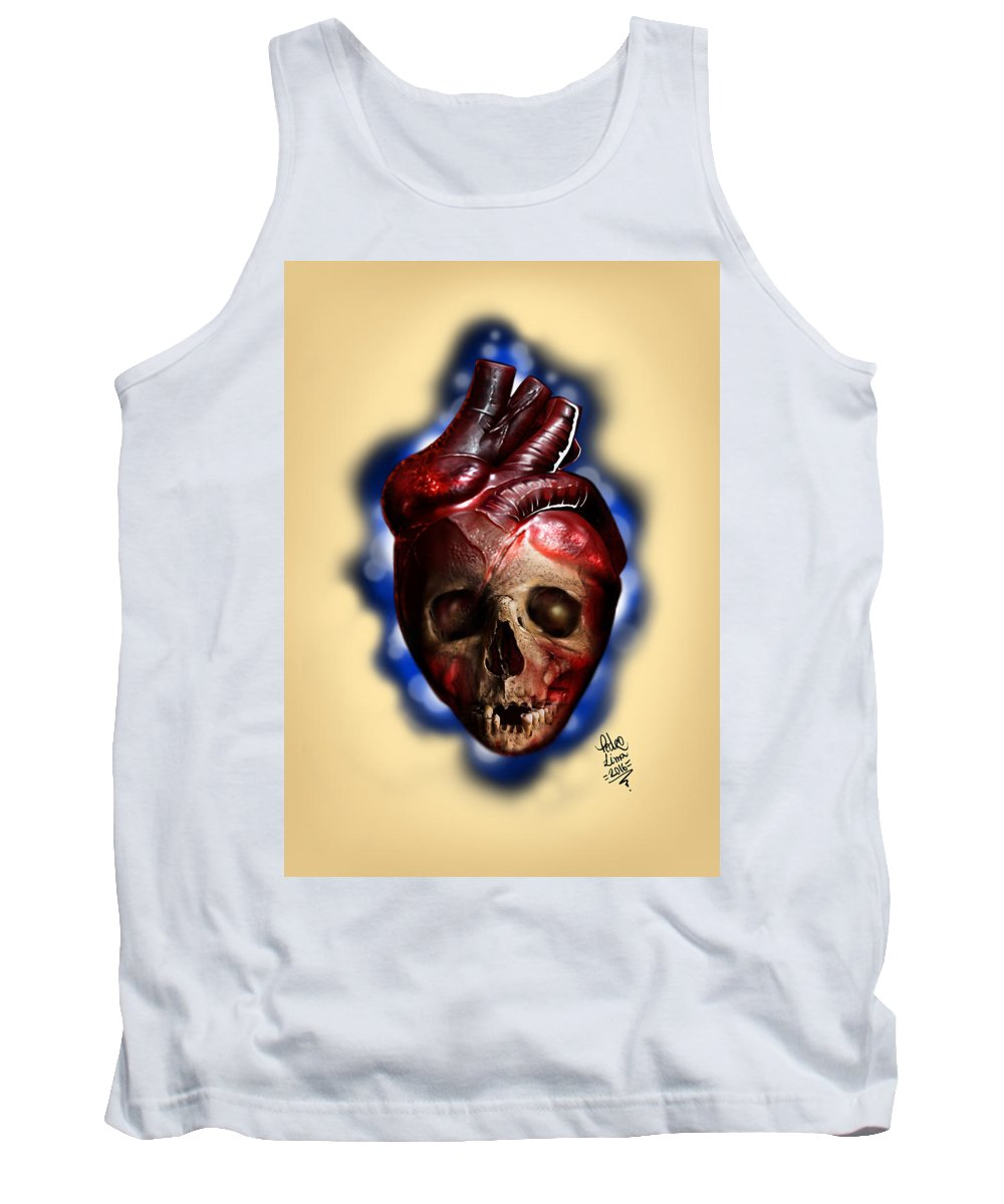 Hart Tank Top featuring the digital art Heart Skull by Pedro Oliveira