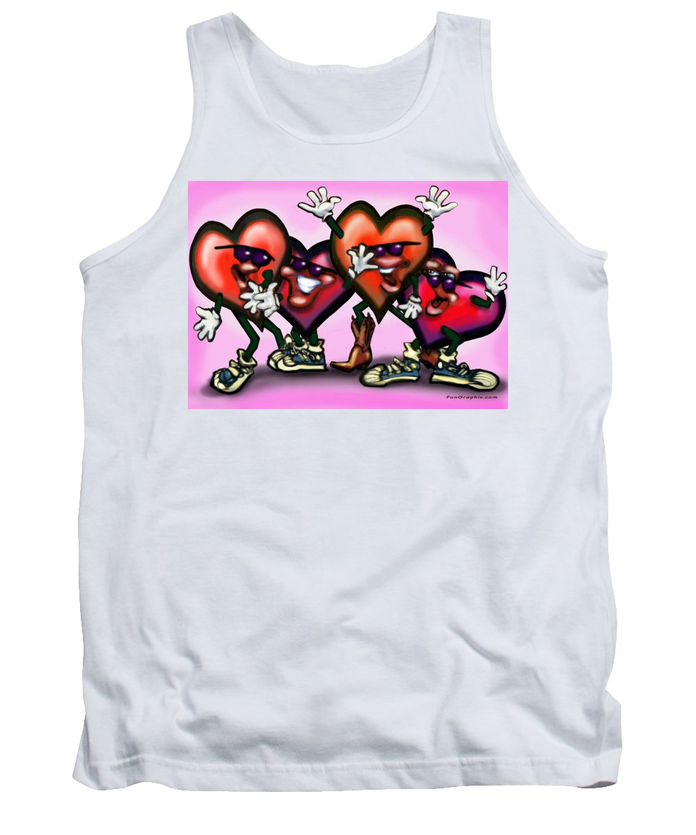 Heart Tank Top featuring the digital art Hearts Gang by Kevin Middleton