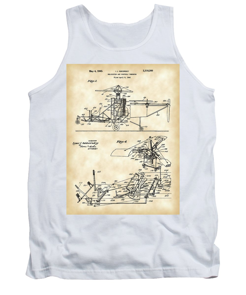 Helicopter Tank Top featuring the digital art Helicopter Patent 1940 - Vintage by Stephen Younts