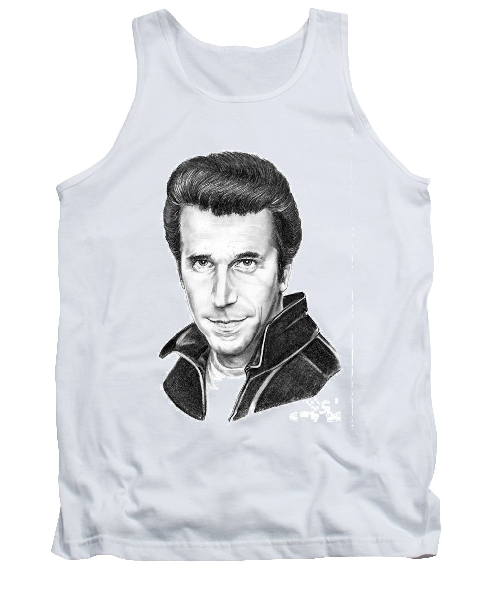 Portrait Tank Top featuring the drawing Henry Winkler The Fonz by Murphy Elliott