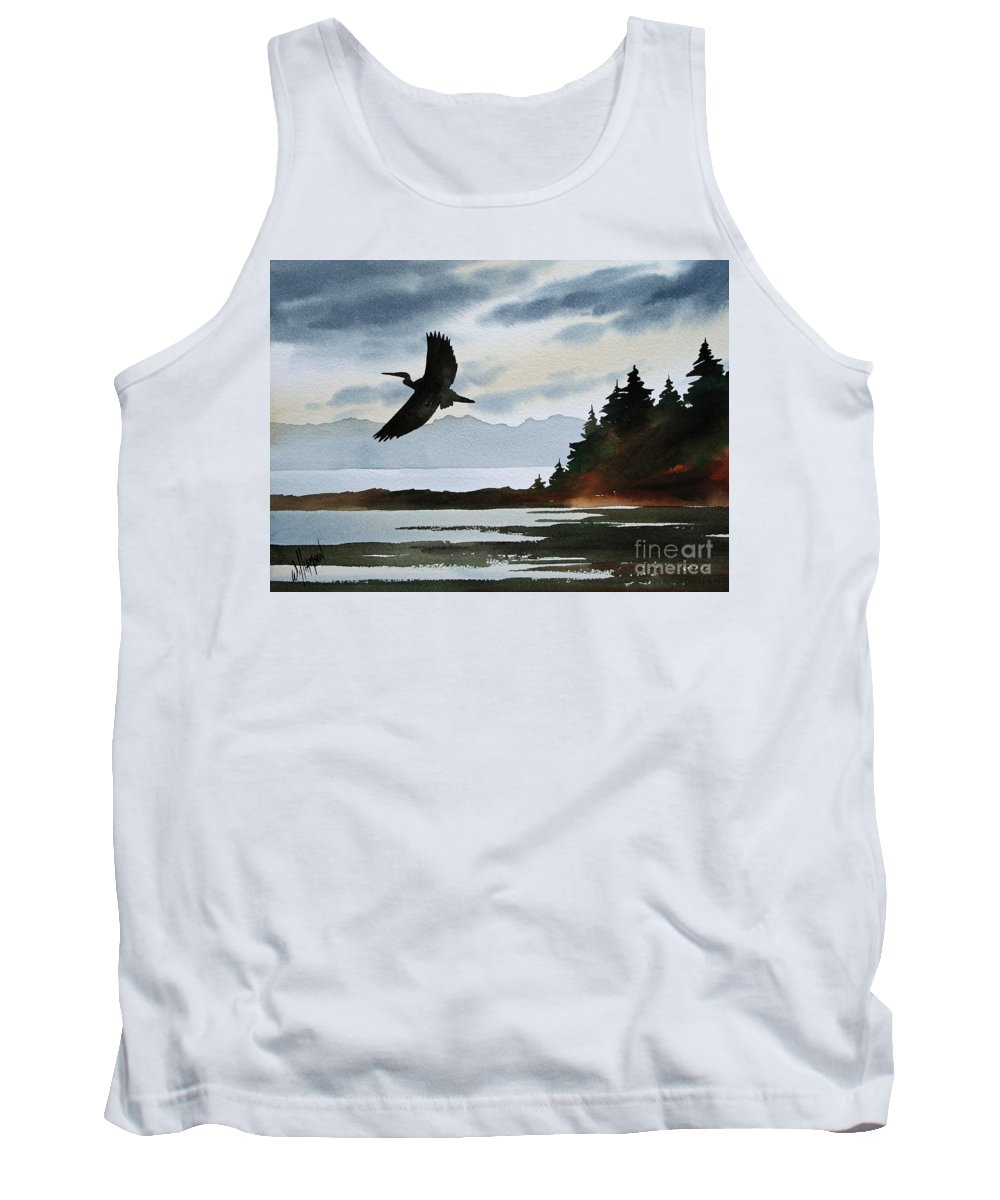 Heron Tank Top featuring the painting Heron Silhouette by James Williamson